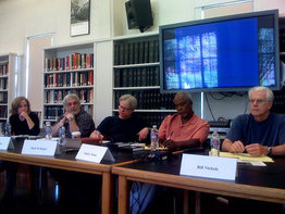 Panel during research for Archival Storytelling. (LR) SCB, Kenn Rabin, Rick Prelinger, Stanley Nelson, Bill Nichols.